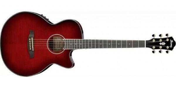 Ibanez AEG24II-THS - AEG Series Electro-Acoustic Guitar, Trans Hibiscus Red